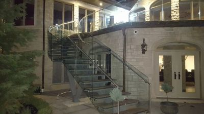 steel glass steps railing1