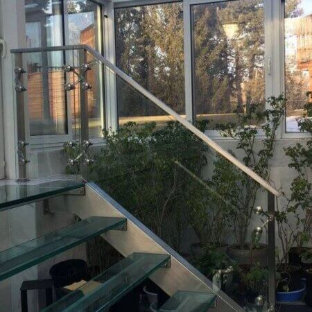 steel glass steps railing